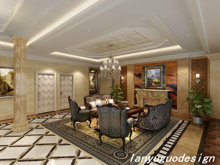 润邦装饰奢华美式风格客厅效果图赏析:   平米的豪华别墅,
