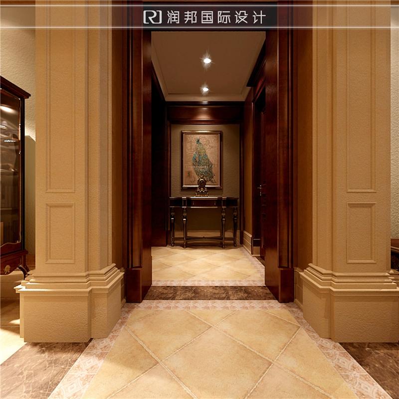 雅居乐滨江国际超高大平层美式风格装修样板间过道
