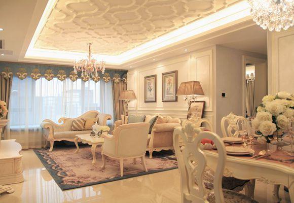 海峡城142平方米三室两厅法式风格装修实景效果图