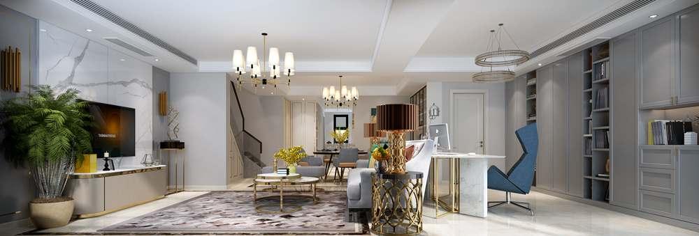 鲁能泰山7号院180平方米中叠户型现代轻奢风格装修效果图