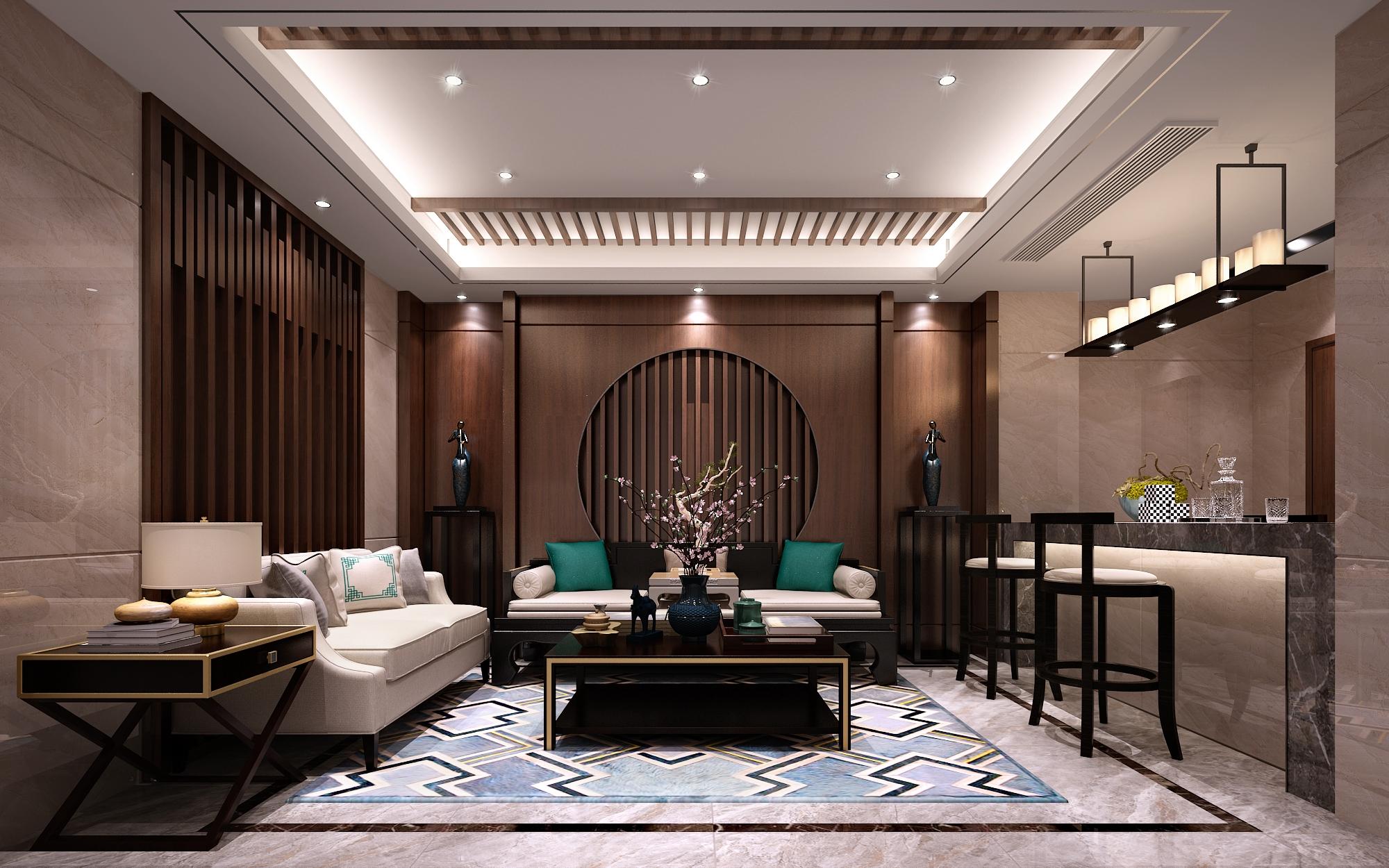 保利礼墅350平方米新中式风格联排别墅装修效果图