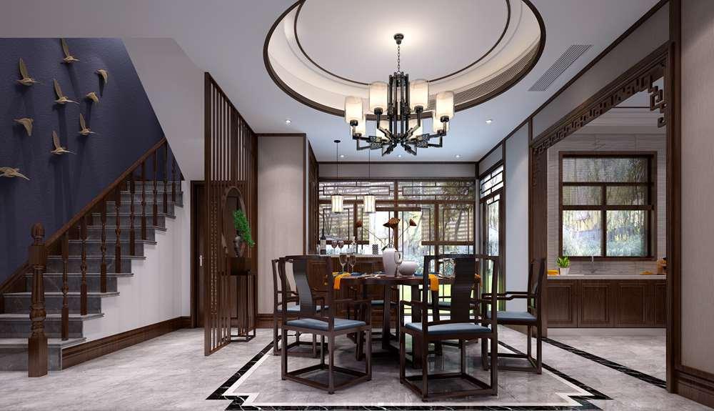 碧桂园凤凰岛252平方米新中式风格别墅装修效果图