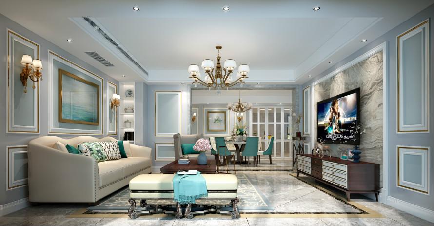 鲁能泰山7号院185平方米下叠户型美式风格装修效果图