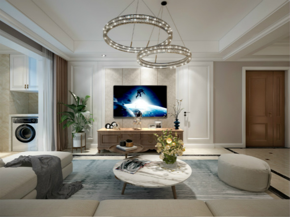 星叶羊山湖花园126平方米三房两厅两卫现代美式风格装修效果图