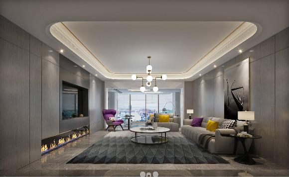 雅居乐滨江国际三期402平方米现代轻奢风格装修效果图